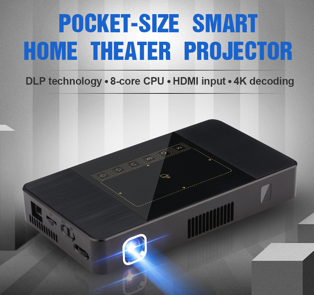 home theater Portable DLP LED Mini Pocket projector With 4k docoding and ir&touch Control Projector C10