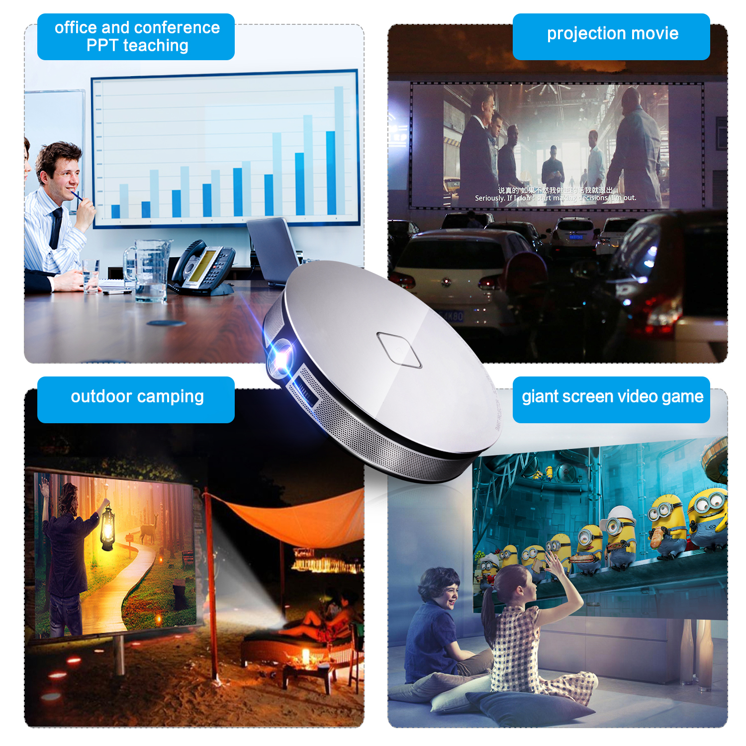Android Mini Portable Projector D8S 3500lumens HD 4K Video Smart Home Theater DLP Android 6.1 Projector