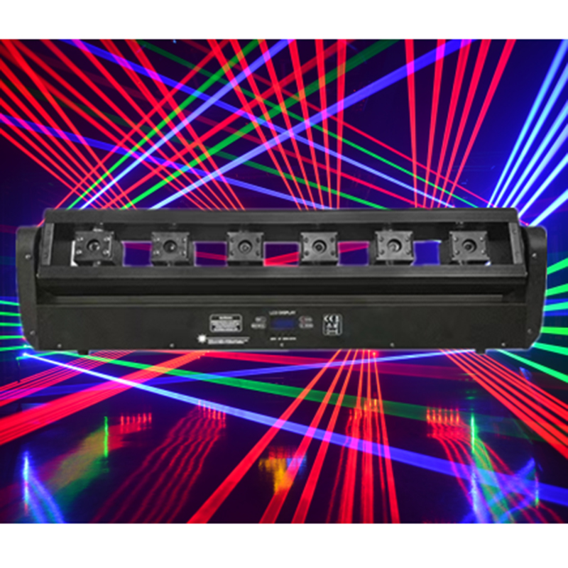 Full color RGB tricolor laser moving head light 6 eyes 6w moving head laser bar light for dj disco big show