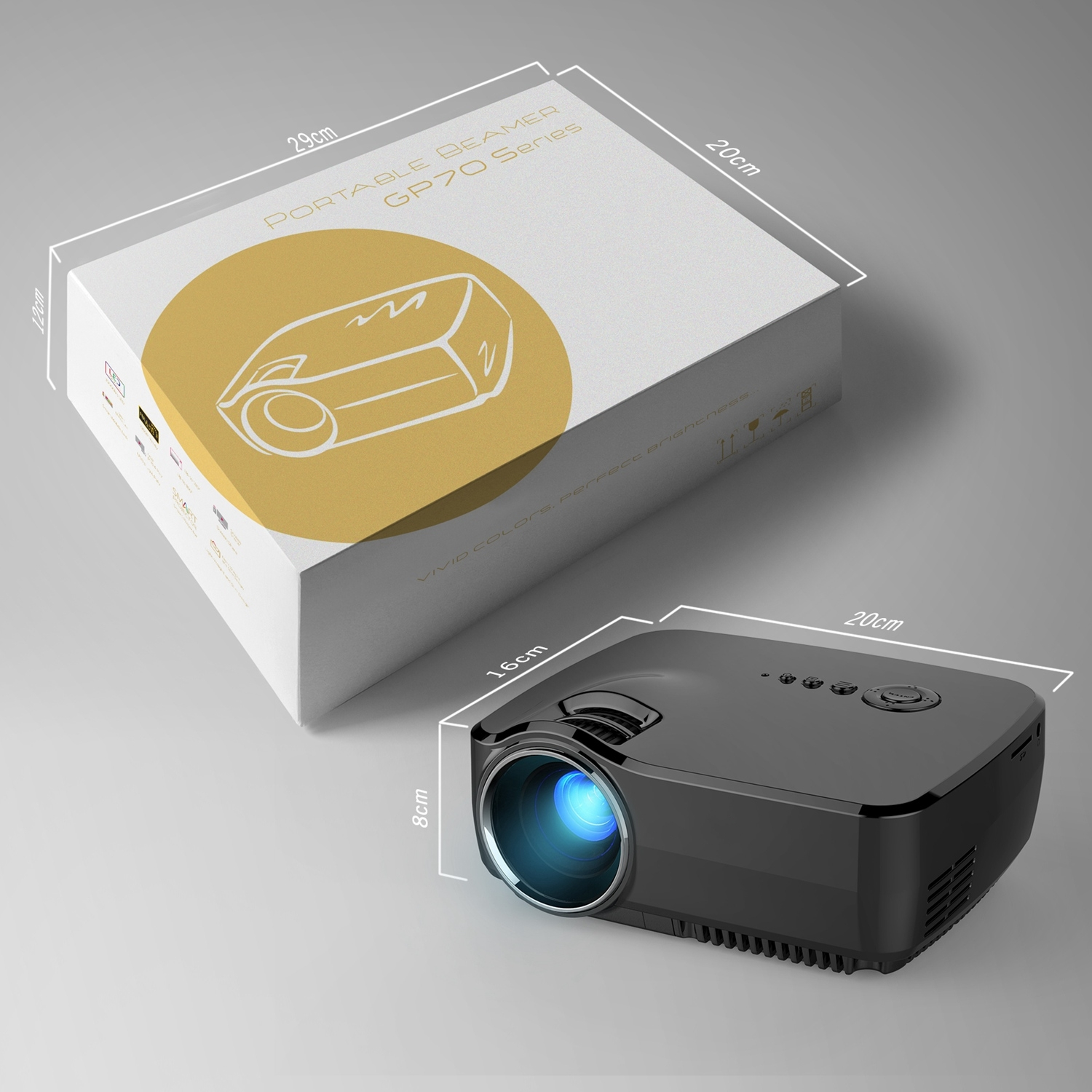 Mini Portable Video LED Projector 1080P for Outdoor Indoor Home Cinema Theater/Game/DVD/PC/Laptop Show
