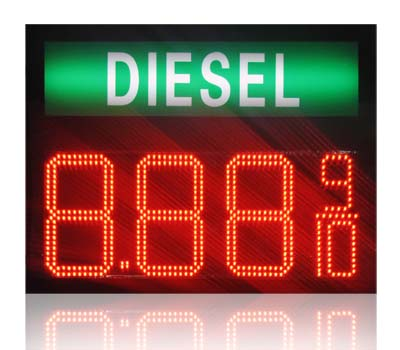 Gas station regular diesel led sign